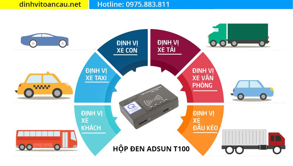 Định vị hợp chuẩn Adsun, giám sát hành trình t100, hộp đen ô tô adsun t100