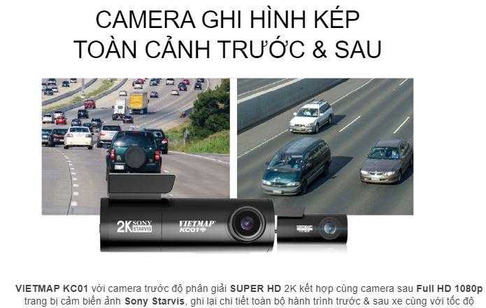 camera hành trình Vietmap KC01, camera hành trình trước sau, camera hành trình mini