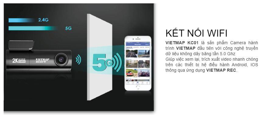 camera hành trình Vietmap KC01, camera hành trình tích hợp wifi, camera hành trình kiêm dẫn đường