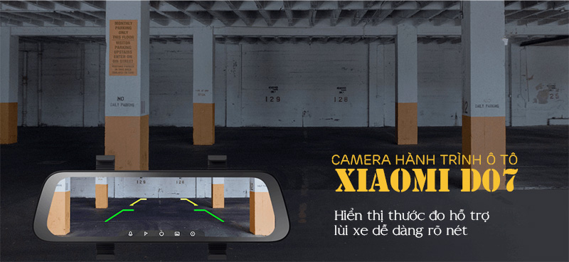 camera ô tô, camera hành trình gương xiaomi d07, camera hành trình gương chiếu hậu xiaomi