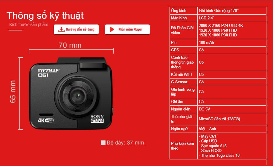 Thông số kỹ thuật camera hành trình Vietmap C61, camera xe ô tô vietmap c61