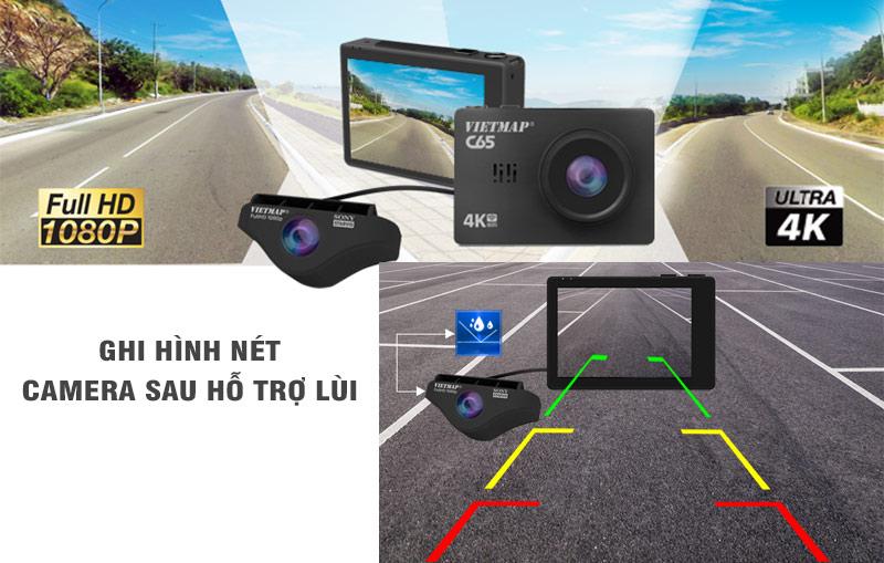 camera hành trình tích hợp camera lùi, vietmap c65, camera hành trình ô tô