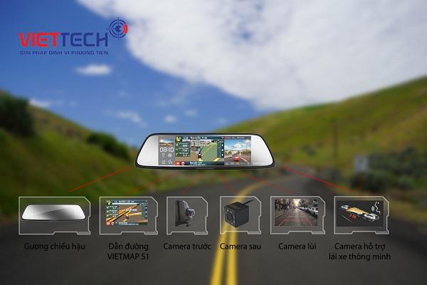 camera hành trình gương vietmap g79, camera hành trình tích hợp wifi, vietmap g79