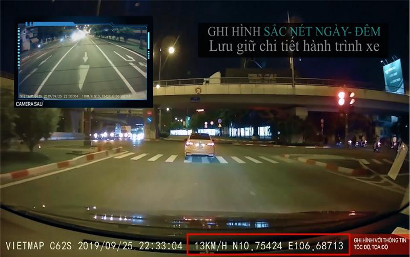 camera hành trình ô tô, camera hành trình ô tô vietmap c62s ghi hình sắc nét