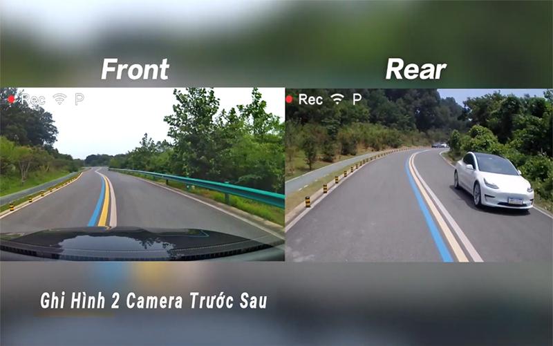 camera hành trình xiaomi 2 mắt ghi hình, camera hành trình ô tô ghi hình 2 mắt trước sau